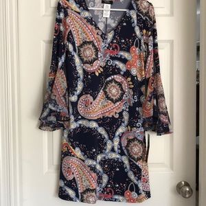 MSK Navy Paisley Print Dress-M-New with Tags!